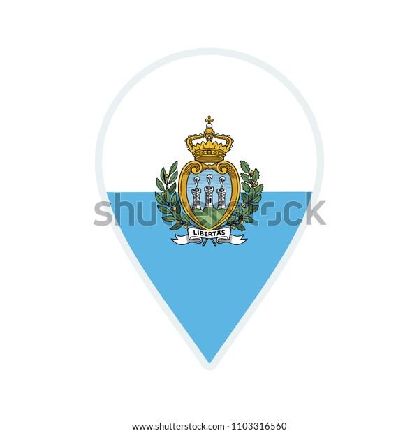 San Marino flag icon. Travel icon. Travel destination of San Marino. San Marino badge. Flag badge.