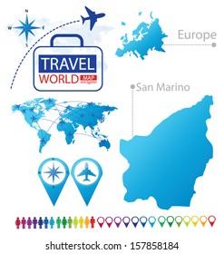 San Marino. Map. Europe. Modern globe. Travel vector Illustration.