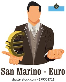 San Marino national currency symbol euro representing money and Flag. Vector design concept of businessman in suit with his open hand over with currency isolated on white background in EPS10.