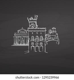 San Marino San Marino signs on blackboard. Digital chalk drawn vector sketch on blackboard. European capitals destinations.