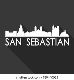 San Sebastian Spain Europe Flat Icon Skyline Silhouette Design City Vector Art Famous Buildings