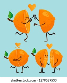 San Valentines's Happy Orange Couple cartoon