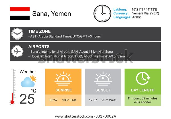 Sana Yemen Infographic Design Time Date Stock Vector