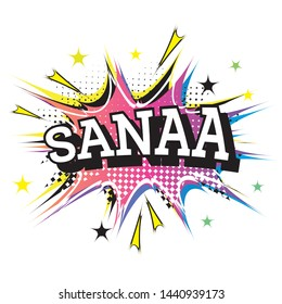 Sanaa Comic Text in Pop Art Style. Vector Illustration.