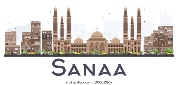 Sanaa Yemen City Skyline with Color Buildings Isolated on White Background. Vector Illustration. Business Travel and Tourism Concept with Historic Buildings. Sanaa Cityscape with Landmarks.