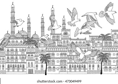 Sana'a, Yemen - hand drawn black and white cityscape with birds