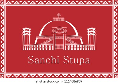 Sanchi Stupa, Warli Painitng Style, India tourism,  Buddhist monument, Madhya Pradesh,
