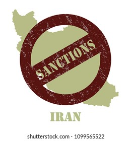 Sanctions against the Iran. Stamp with the inscription sanctions on the background of the map of Iran.