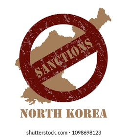Sanctions against the North Korea. Stamp with the inscription sanctions on the background of the map of North Korea.