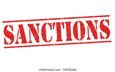 Sanctions grunge rubber stamp on white background, vector illustration