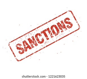 Sanctions inscription in the form of a grunge shabby seal impression