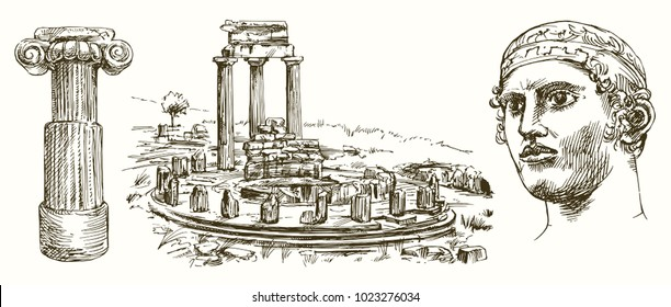 Sanctuary of Apollo at Delphi, Greece, hand drawn set