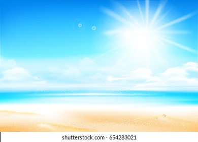 Sand beach over blur sea and sky with sun light flare and copyspace abstract background vector illustration