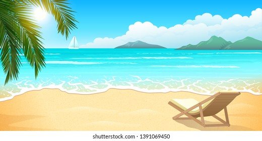 Sand beach with palm and wooden chaise lounge, clear blue ocean or sea, mountains and clouds, summer paradise, beautiful landscape, vector illustration