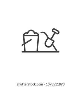 Sand bucket and shovel line icon. linear style sign for mobile concept and web design. Toy bucket and spade outline vector icon. Sandbox Symbol, logo illustration