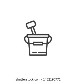 Sand Bucket and spade line icon. linear style sign for mobile concept and web design. Toy bucket with spade outline vector icon. Summer vacation symbol, logo illustration. Vector graphics