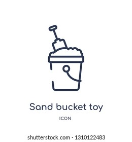 sand bucket toy icon from toys outline collection. Thin line sand bucket toy icon isolated on white background.