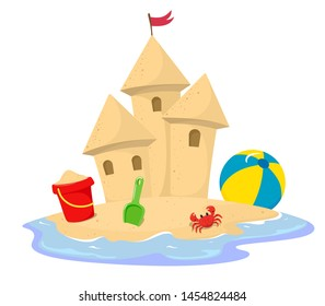 Sand castle surrounded by water with a bucket, crab, spatula and ball. Vector illustration in cartoon style on a white background.