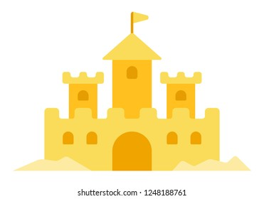 Sand castle vector flat icon isolated on white