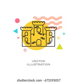Sand castle vector line logo icon with colorful design elements memphis styled in background
