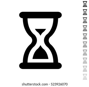 Sand clock cursor - black vector icon and ten icons in  shades of grey