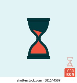 Sand clock icon. Hourglass, sandglass isolated. Vector illustration.