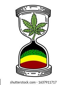 Sand clock marijuana tattoo vector graphic design