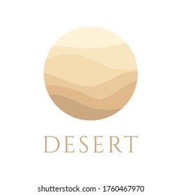 Sand, dunes, beach, desert abstract template logo pattern of wavy lines in beige color. Logo template, icon, badge, pictogram, symbol, sign for tourism, travel, hot places. Vector illustration.