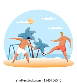 Sand football sign or beach soccer with cartoon people. Beasal sport illustration. Flat or cartoon, simple man play summer game. Summertime leisure or athletic hobby, outdoor activity. Vacation