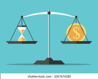 Sand glass and gold dollar coin on weight scales on turquoise blue background. Time and money concept. Flat design. Vector illustration, no transparency, no gradients