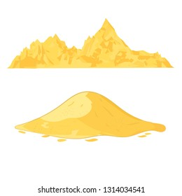 Sand heap. Cement pile or yellow sand mound cartoon vector illustration isolated on white background