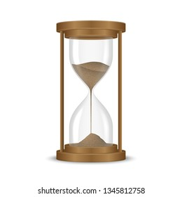 Sand hourglass clock isolated on white background.
