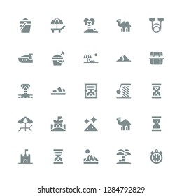 sand icon set. Collection of 25 filled sand icons included Timer, Island, Dune, Hourglass, Sand castle, Dromedary, Dust, Beach, Sandclock, Scratching, Sandals, Litter box, Sand bucket