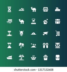 sand icon set. Collection of 25 filled sand icons included Hourglass, Sand bucket, Litter box, Island, Yacht, Sandals, Coconut tree, Wheelbarrow, Dune, Camel, Dromedary, Sandclock
