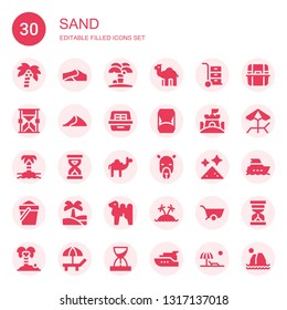 sand icon set. Collection of 30 filled sand icons included Coconut tree, Dunes, Island, Dromedary, Wheelbarrow, Hourglass, Dune, Litter box, Sand castle, Sandclock, Camel, Dust