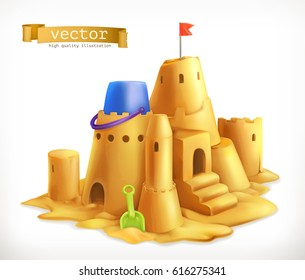 Sand play, sandcastle 3d vector icon