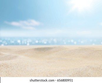 Sand, sea, sky and summer day. Vector background.