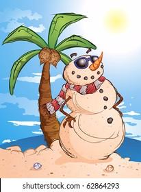Sand Snowman Cartoon Character in Paradise