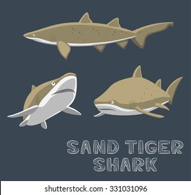 Sand Tiger Shark Cartoon Vector Illustration