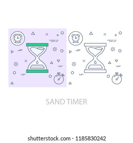 sand timer Modern flat color line vector icon
