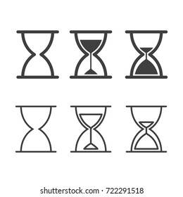 Sand Timer Vector Design Set. Outline Vector