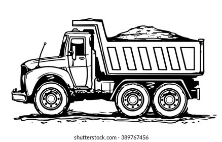 Sand truck. Hand drawn vector illustration