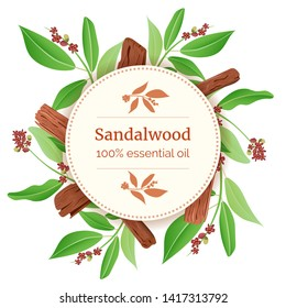 Sandalwood Round Circle badge. sticks and leaves card template with copy space. Card template. branch boxing. Vector illustration. For prints, posters, flyer, flier, , copy space, textile tags labels