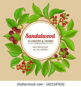 sandalwood vector frame on color background