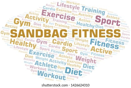 Sandbag Fitness word cloud. Wordcloud made with text only.