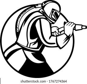 Sandblaster Abrasive Blasting Side View Circle Mascot Black and White