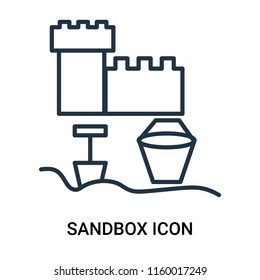 Sandbox icon vector isolated on white background, Sandbox transparent sign , outline linear symbol or thin lined pictogram