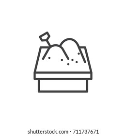 Sandbox line icon, outline vector sign, linear style pictogram isolated on white. Symbol, logo illustration. Editable stroke