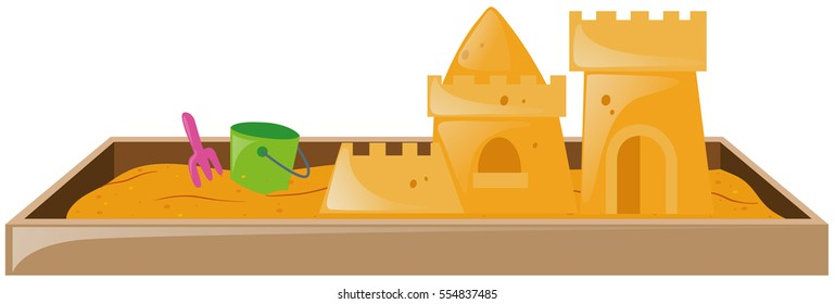 Sandbox with sandcastle and bucket illustration