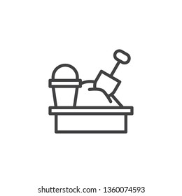 Sandbox and toys line icon. linear style sign for mobile concept and web design. Sandbox with spade and bucket outline vector icon. Recreation symbol, logo illustration. Pixel perfect vector graphics